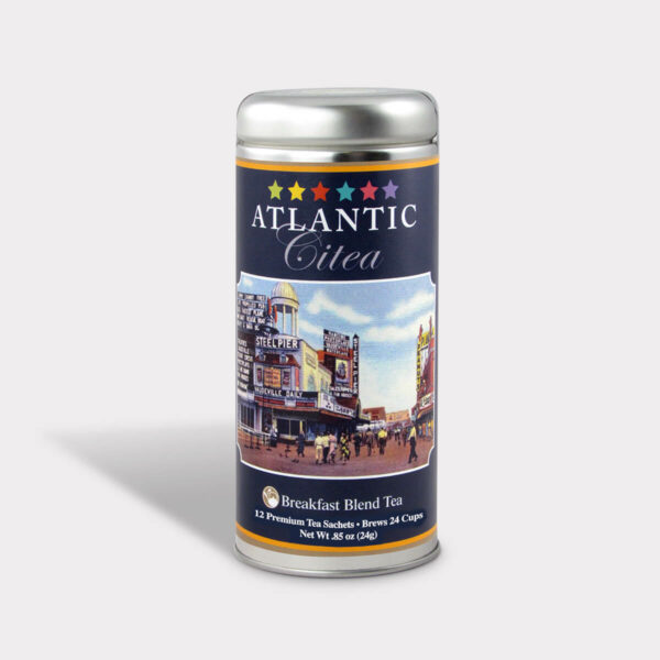 Customizable Private Label Healthy Atlantic City Postcard Travel Souvenir Tea in an Easy-Open Silver Tall Tin with 12 Pyramid Tea Sachets in a flavor of your choice