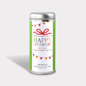 Customizable Healthy Birthday Tea in an Easy-Open Silver Tall Tin with 12 Pyramid Tea Sachets in a flavor of your choice