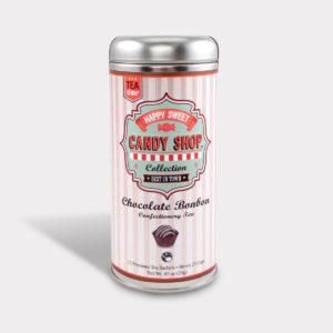 Customizable Healthy Specialty Tea Blend Candy Shop Chocolate Bonbon Black Tea in an Easy-Open Silver Tall Tin with 12 Pyramid Tea Sachets