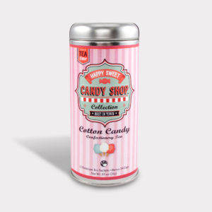 Customizable Healthy Specialty Tea Blend Candy Shop Cotton Candy Oolong Tea in an Easy-Open Silver Tall Tin with 12 Pyramid Tea Sachets
