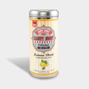 Customizable Healthy Specialty Tea Blend Candy Shop Lemon Drop Black Tea in an Easy-Open Silver Tall Tin with 12 Pyramid Tea Sachets