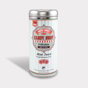 Customizable Healthy Specialty Tea Blend Candy Shop Mint Twist Green Tea in an Easy-Open Silver Tall Tin with 12 Pyramid Tea Sachets