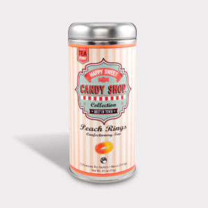 Customizable Healthy Specialty Tea Blend Candy Shop Peach Rings Green Tea in an Easy-Open Silver Tall Tin with 12 Pyramid Tea Sachets