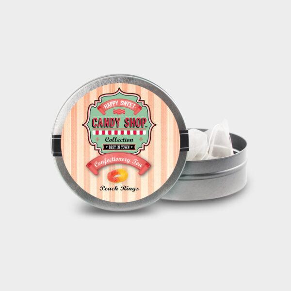 Customizable Healthy Specialty Tea Blend Candy Shop Peach Rings Tea in an Easy-Open Silver Mini Tin with Pyramid Tea Sachets