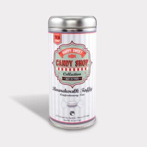 Customizable Healthy Specialty Tea Blend Candy Shop Boardwalk Vanilla Taffy Black Tea in an Easy-Open Silver Tall Tin with 12 Pyramid Tea Sachets