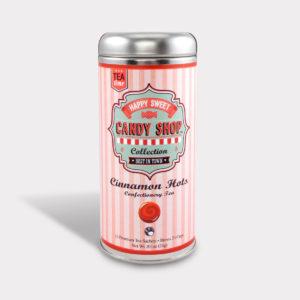 Customizable Healthy Specialty Tea Blend Candy Shop Cinnamon Hot Chai Tea in an Easy-Open Silver Tall Tin with 12 Pyramid Tea Sachets