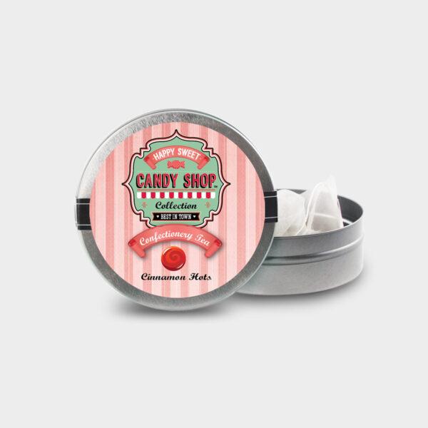 Customizable Healthy Specialty Tea Blend Candy Shop Cinnamon Hots Tea in an Easy-Open Silver Mini Tin with Pyramid Tea Sachets