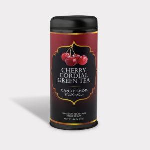 Customizable Healthy Specialty Tea Blend Candy Shop Cherry Cordial Green Tea in an Easy-Open Silver Tall Tin with 12 Pyramid Tea Sachets