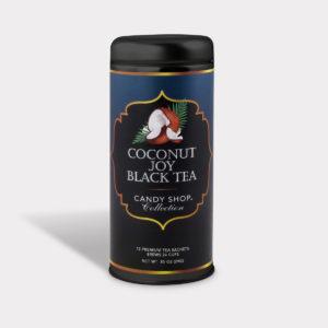 Customizable Healthy Specialty Tea Blend Candy Shop Coconut Joy Black Tea in an Easy-Open Silver Tall Tin with 12 Pyramid Tea Sachets