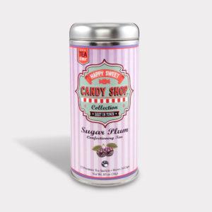 Customizable Healthy Specialty Tea Blend Candy Shop Sugar Plum Tea in an Easy-Open Silver Tall Tin with 12 Pyramid Tea Sachets
