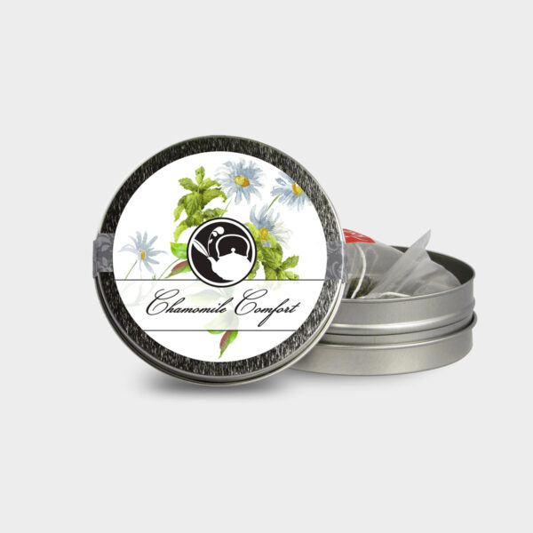 Customizable Healthy Specialty Tea Blend Floral Chamomile Comfort Tea in an Easy-Open Silver Mini Tin with Pyramid Tea Sachets