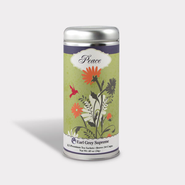 Customizable Private Label All-Natural Healthy Peace Flower Tea in an Easy-Open Silver Tall Tin with 12 Pyramid Tea Sachets in a flavor of your choice