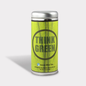 Customizable Private Label All-Natural Healthy Think Green Tea in an Easy-Open Silver Tall Tin with 12 Pyramid Tea Sachets in a flavor of your choice