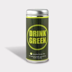 Customizable Private Label All-Natural Healthy Drink Green Tea in an Easy-Open Silver Tall Tin with 12 Pyramid Tea Sachets in a flavor of your choice