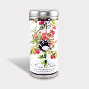 Customizable Healthy Specialty Tea Blend Floral Asian Cherry Blossom Green Tea in an Easy-Open Silver Tall Tin with 12 Pyramid Tea Sachets