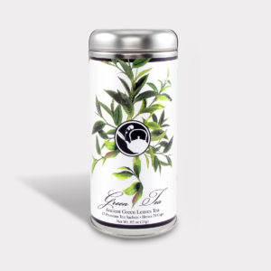 Customizable Healthy Specialty Tea Blend Floral Ancient Green Leaves Tea in an Easy-Open Silver Tall Tin with 12 Pyramid Tea Sachets