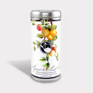 Customizable Healthy Specialty Tea Blend Floral Apricot & Peach Tree Green Tea in an Easy-Open Silver Tall Tin with 12 Pyramid Tea Sachets