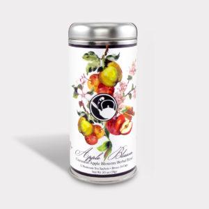 Customizable Healthy Specialty Tea Blend Floral Cinnamon Apple Blossom Green Tea in an Easy-Open Silver Tall Tin with 12 Pyramid Tea Sachets