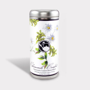 Customizable Healthy Specialty Tea Blend Floral Chamomile Comfort Tea in an Easy-Open Silver Tall Tin with 12 Pyramid Tea Sachets