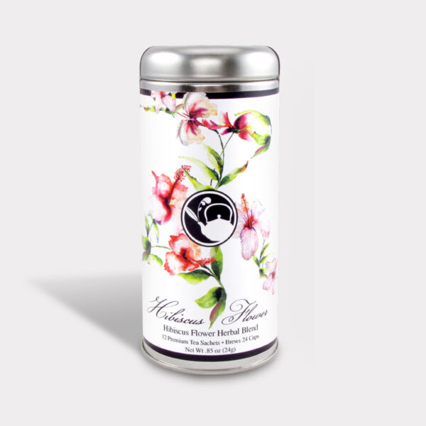 Customizable Healthy Specialty Tea Blend Floral Hibiscus Flower Tea in an Easy-Open Silver Tall Tin with 12 Pyramid Tea Sachets