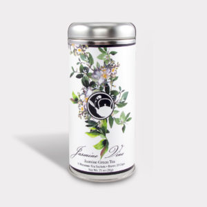 Customizable Healthy Specialty Tea Blend Floral Jasmine Vine Green Tea in an Easy-Open Silver Tall Tin with 12 Pyramid Tea Sachets