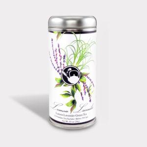 Customizable Healthy Specialty Tea Blend Floral Lemon Lavender Green Tea in an Easy-Open Silver Tall Tin with 12 Pyramid Tea Sachets