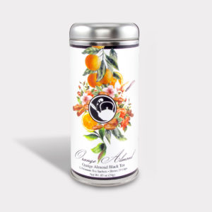 Customizable Healthy Specialty Tea Blend Floral Orange Almong Black Tea in an Easy-Open Silver Tall Tin with 12 Pyramid Tea Sachets