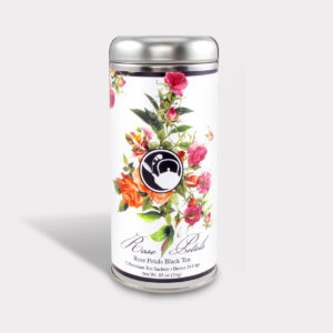 Customizable Healthy Specialty Tea Blend Floral Rose Petals Black Tea in an Easy-Open Silver Tall Tin with 12 Pyramid Tea Sachets