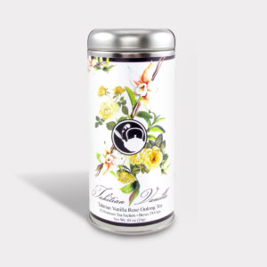 Customizable Healthy Specialty Tea Blend Floral Tahitian Vanilla Rose Oolong Tea in an Easy-Open Silver Tall Tin with 12 Pyramid Tea Sachets
