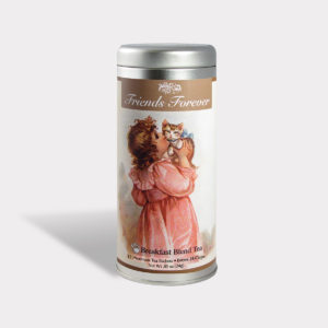 Customizable Private Label All-Natural Healthy Friends Forever Tea in an Easy-Open Silver Tall Tin with 12 Pyramid Tea Sachets in a flavor of your choice