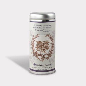 Customizable Private Label All-Natural Healthy A Friend Is Someone Who Knows Warm Wishes Tea in an Easy-Open Silver Tall Tin with 12 Pyramid Tea Sachets in a flavor of your choice