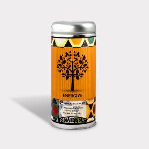 Customizable Healthy Specialty Tea Blend Remetea Energize Mango Amazon Black Tea in an Easy-Open Silver Tall Tin with 12 Pyramid Tea Sachets