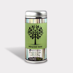 Customizable Healthy Specialty Tea Blend Remetea Healthy Way Green Tea in an Easy-Open Silver Tall Tin with 12 Pyramid Tea Sachets