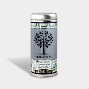 Customizable Healthy Specialty Tea Blend Remetea Serene ZZZ's in an Easy-Open Silver Tall Tin with 12 Pyramid Tea Sachets