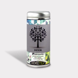 Customizable Healthy Specialty Tea Blend Remetea Detox Herbal Tea in an Easy-Open Silver Tall Tin with 12 Pyramid Tea Sachets