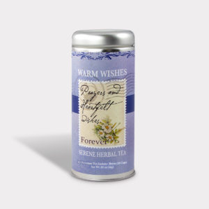 Customizable Healthy Specialty Tea Blend Prayers and Heartfelt Wishes in an Easy-Open Silver Tall Tin with 12 Pyramid Tea Sachets in a flavor of your choice