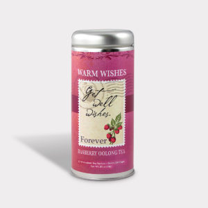 Customizable Healthy Specialty Tea Blend Get Well Wishes in an Easy-Open Silver Tall Tin with 12 Pyramid Tea Sachets in a flavor of your choice