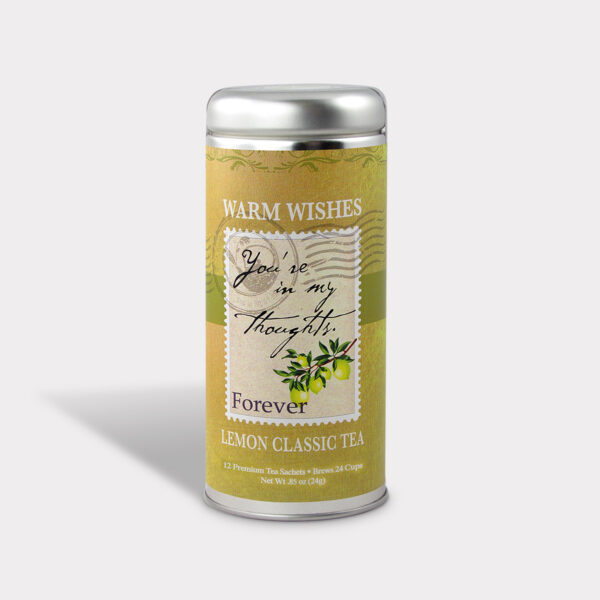 Customizable Healthy Specialty Tea Blend You're In My Thoughts in an Easy-Open Silver Tall Tin with 12 Pyramid Tea Sachets in a flavor of your choice