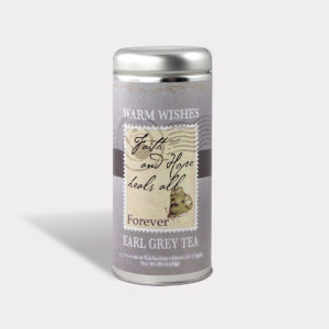 Customizable Healthy Specialty Tea Blend Faith and Hope Heals All in an Easy-Open Silver Tall Tin with 12 Pyramid Tea Sachets in a flavor of your choice