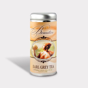 Customizable Healthy Specialty Tea Blend Beauteaful in an Easy-Open Silver Tall Tin with 12 Pyramid Tea Sachets in a flavor of your choice