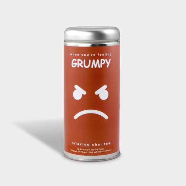 Customizable Private Label All-Natural Healthy Simply Grumpy Humor Tea in an Easy-Open Silver Tall Tin with 12 Pyramid Tea Sachets in a flavor of your choice