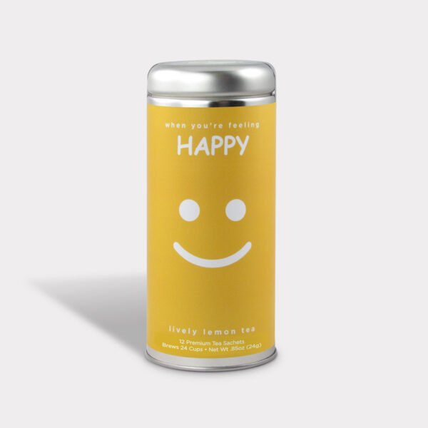 Customizable Private Label All-Natural Healthy Simply Happy Humor Tea in an Easy-Open Silver Tall Tin with 12 Pyramid Tea Sachets in a flavor of your choice
