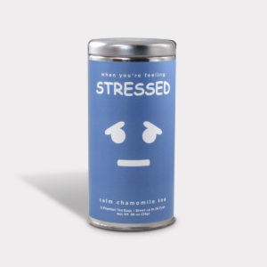 Customizable Private Label All-Natural Healthy Simply Stressed Humor Tea in an Easy-Open Silver Tall Tin with 12 Pyramid Tea Sachets in a flavor of your choice