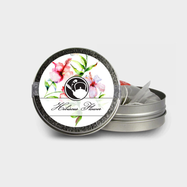 Customizable Healthy Specialty Tea Blend Floral Hibiscus Flower Tea in an Easy-Open Silver Mini Tin with Pyramid Tea Sachets