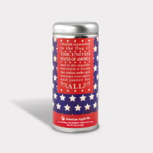 Customizable Private Label All-Natural Healthy Independence Day Pledge of Allegiance Tea in an Easy-Open Silver Tall Tin with 12 Pyramid Tea Sachets in a flavor of your choice