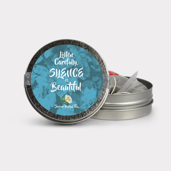Customizable Private Label All-Natural Healthy Silence is Beautiful Inspirational Tea in an Easy-Open Silver Mini Tin with Pyramid Tea Sachets in a flavor of your choice