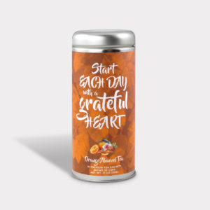 Customizable Private Label All-Natural Healthy Grateful Heart Inspirational Tea in an Easy-Open Silver Tall Tin with 12 Pyramid Tea Sachets in a flavor of your choice