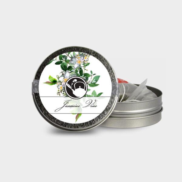 Customizable Healthy Specialty Tea Blend Floral Jasmine Vine Tea in an Easy-Open Silver Mini Tin with Pyramid Tea Sachets