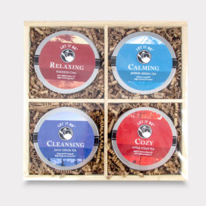 Relaxing and Healthy Customizable Wooden Let it Be Tea Mini Tin Variety Box