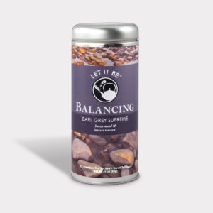 Customizable Healthy Specialty Tea Blend Let It Be Balancing Earl Grey Supreme Tea in an Easy-Open Silver Tall Tin with 12 Pyramid Tea Sachets